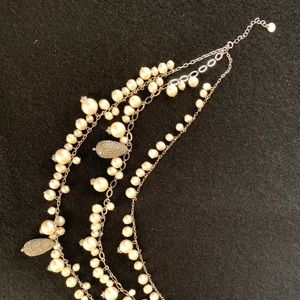 Jewelry - Silver-tone Statement Necklace, pearls
